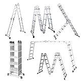LARS360 5.5M Leiter Mehrzweckleiter Klappleiter Gelenkleiter mit Plattform 4x5 Sprossen Aluleiter...