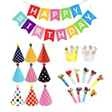 Geburtstagsfeier Dekorationen 23 pcs, Happy Birthday Spruchband,Partyhüte Geburtstag Dekoration Set...