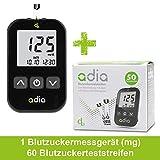 Adia Diabetes-Set, Messeinheit mg, mit 60 Blutzuckerteststreifen, Stechhilfe und 10 Lanzetten zur...