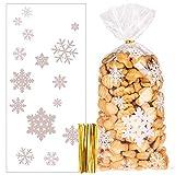 100 Stück Schneeflocke Weihnachten Plätzchentüten, Cellophantüten Transparent Candy Bar...