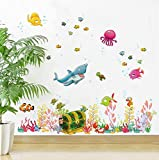 Tiefsee Welt Fisch Tier Wandaufkleber Raumdekorationen Cartoon Wandbild Zoo Kinder Abziehbild Poster...
