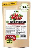 Bio Hagebuttenpulver Bio 1000g + 250g extra XXL Vorteilspack Hagebuttenpulver in Rohkostqualität |...