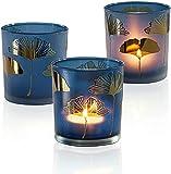 HOMMAX Teelichthalter, 3 er Set Teelichtgläser (Blau Ginkgoblätter) aus Glas, 7X 7X 8...