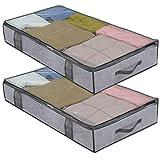 homyfort 2 Stück Premium Unterbettkommode mit Sichtfenster, Unterbett-Aufbewahrungstasche...