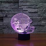 Minnesota Vikings Helm Led Nachtlicht Usb 3D American Football Team 7 Farbwechsel Visuelle Helm...