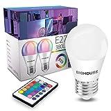 E27 Dimmbar LED Lampe ersetzt 35W, 380 Lumen, 4W E27 G45 RGB Glühbirne mit Fernbedienung,...