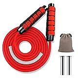 Springseil Fitness,9mm 510g,Profi Training Sprungseil Erwachsene mit Gewichten, Seilspringen mit...
