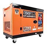 DeTec. 3-Phasen Diesel Generator Notstrom Aggregat DT-6000SE-1 230V 5.5 kW max. Leistung, mit Rollen