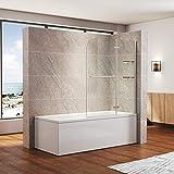 SONNI Duschwand für badewanne 100x140cm (BxH) mit Handtuchhalter + Eckregal,Duschwand...