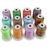 New brothread 12 Multi Farben Polyester Maschinen Stickgarn 500M (550Y) für...