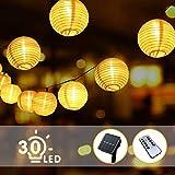 BACKTURE Solar Lichterkette Lampion, Aussen 6.3M 30 LED Laternen Fernbedienung 8 Modi IP65...