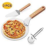 Gifort Pizzaschieber Pizzaschaufel Edelstahl + Pizzaheber mit Holzgriff +Pizzaschneider Qualitäts...