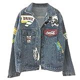 Brief Graffiti Jeansjacke für Frauen Streetwear Harajuku femininer Mantel Damen Windbreaker Jeans...