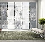 Vision S 95757-0307 | 5er-Set Schiebegardine CROSTON | halb-transparenter Stoff in Bambus-Optik | 5X...