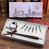 Füllfederhalter Retro Italien-Art-Quill Dip Pen Kunst Kalligraphie Schreiben Holz Schreibset