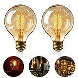 Edison Vintage Glühbirne, 2 Stück Globe Glühlampe Retro Glühbirne Warmweiß E27 Nostalgie...