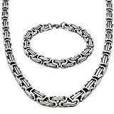 Maya Store KÖNIGSARMBAND (15cm Länge) Silber Edelstahl PANZERKETTE BYZANTINER Kette Motiv 15cm...
