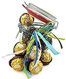 Geschenk Bügelglas mit feinen Süßigkeiten und Geschenkband - Geschenkfertig (Ferrero Rocher 200...