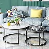 WGFGXQ Marmor Couchtisch Set, 2 runde Satztische/Beistelltisch/Beistelltisch/Sofatisch, Moderner...