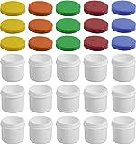 15 Salbendöschen, Creme-döschen, Salbenkruke flach, 25ml Inhalt mit farbigen Deckeln - MADE IN...