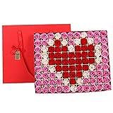 TwoCC  99 Pcs rot duftende Badeseife Rosenblatt in Herz-Box, Rose Flower Body Soap, Valentinstag...