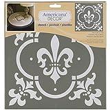 Deco Art Americana Dekor-Schablone, Fleur De Lis Fliese, Wei