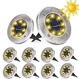 10 Stücke Solar Bodenleuchten Aussen, DUTISON Solarleuchten Garten mit 8 LEDs für Außen, 6000K...
