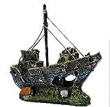Kfnire Harz Fischerboot Aquarium Ornament Kunststoff Dekoration Pflanze für Fish Tank Zubehör