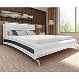 GTRBV Direct Bett mit Matratze 140×200 cm Kunstleder Weiß/Schwarz
