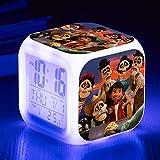 Kinder Nachttisch digitaler Wecker LED buntes Nachtlicht Stimmungswecker quadratische Uhr...
