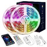 Led Strip 20m, 5050 RGB Led Streifen Selbstklebend mit Fernbedienung und APP 16 Mio. Farben, Led...