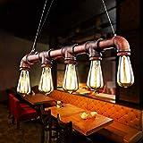 Glighone Wasserrohr Lampe Rohr Vintage Pendelleuchte Hngelampe 5 Lichter E27 Sockel Kupfer-Finish