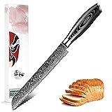 XINZUO Brotmesser Küchenmesser Klinge 20cm Damast Kochmesser 67 Schichten Damaststahl Messer mit...