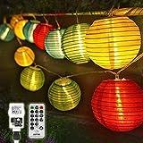 10M LED Lampion Lichterkette Außen mit Timer, 40 LED Lichterkette Balkon Wasserdicht Gartenlaterne...