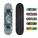 Xootz Kinder-Skateboard für Absolute Anfänger Double-Kick-Trick –Ahorndeck, 78,7x 20,3cm,...