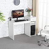 Yaheetech Computertisch, Schreibtisch mit Schublade und Ablagen, Bürotisch, PC-Tisch für Home...