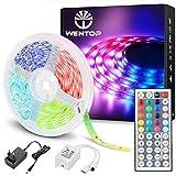 WenTop Led Strip 5m, Farbwechsel LED Band mit IR Fernbedienung, SMD 5050 RGB LED Streifen, für die...