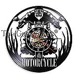 Motorrad Zeitreise Motorradfahrer Schallplatte Wanduhr Motorradfahrt Rennen Wanduhr Uhr Auto...