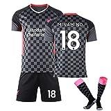 LCHENX-Herren Jungen Fußballtrikot 3-Teiliges Set Liverpool Team # 18 Takumi Minamino Fans Trikot...