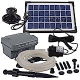 Agora-Tec at-Solar Bachlaufpumpen - Set 3.5W-BLH mit Akku und 3- Fach LED Ring inklusive 5 Meter...