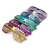 Schramm® 6 Stück Partybrille metallic 6 Farben Partybrillen Bunt Gitterbrille Spaß Spass Brille...