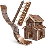 Itslife Hamster Spielzeug 3 Stück Haus Kletterleitern Natürliche Hängebrücke Kletter Holz...