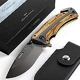 BERGKVIST Klappmesser K29 Titanium 3-in-1 Taschenmesser I Einhand-Messer mit Holzgriff I...