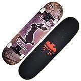 Kinder Erwachsene Anfänger Doppel Kick-Trick Skateboard Maple Deck - 31 x 8 Zoll, ABEC-9 Lager und...