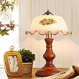 Retro Holz Landhaus Tischlampe weißer Glasschirm Modern Minimalist Tischleuchte Vintage...