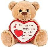 Brubaker Teddy Plschbr mit Herz Rot Beige - Du bist das Beste was Mir je passiert ist - 35 cm -...