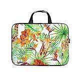 Tropische grüne Pflanze Blätter Blumen Giraffa Volldruck Laptophülle Schutzhülle Wasserabweisend...