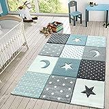 Kinder Teppich Spielteppich Karos Punkte Sterne Mond Pastell Trkis Wei Grau, Gre: 160 cm Rund
