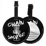 Kofferanhänger PU Leder Kettenraucher Flying Disk Disc Golf, Gepäckanhänger ID Etikett Mit...