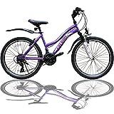 Talson 24 Zoll Mädchen Fahrrad MTB mit Beleuchtung und Shimano 21-Gang Kinderfahrrad Lila